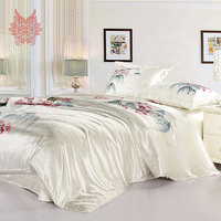 Home textile Jiangnan style print 16mm 100% silk bedding sets,duvet cover pillowcase bedding sheet total4pcs King size SP1816