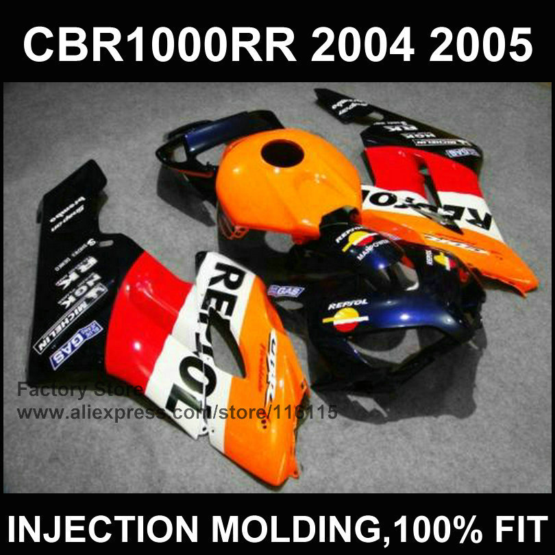 Orange sepsol custom fairing for Injection molding CBR 1000RR fairings 2004 2005 cbr1000rr 04 05 customize