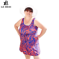 2018 New 10 Style Large Plus Size Quinquagenarian 100kg 6XL 8XL Women One Piece Swimwear Swimsuit Print Skirt Bodysuit Backless