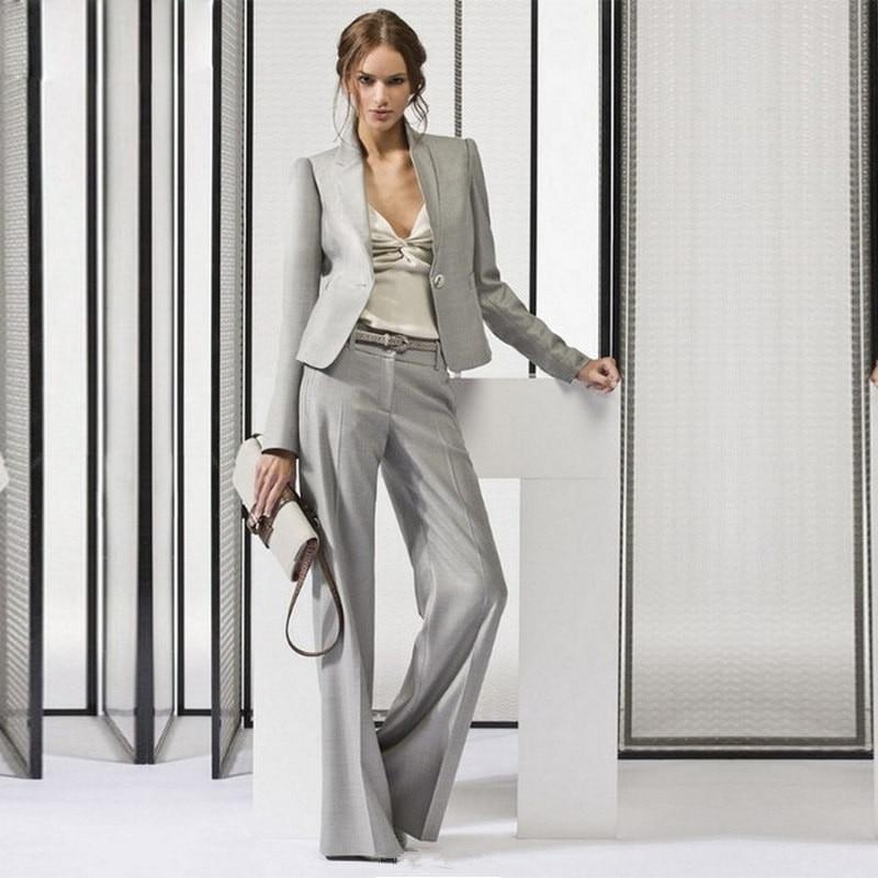 lad Light Gray Womens Business Suits Office Uniform Designs Women Trouser Suit Female Formal Work Wear 2 Piece Sets