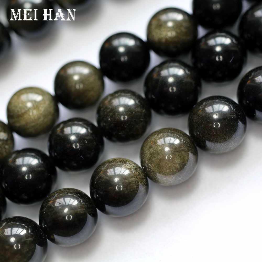 Wholesale 6-12mm natural golden obsidian smooth round stone beads for bracelet necklace diy making  for jewelry making