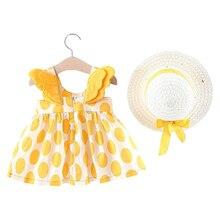 цена Baby Summer Dresses Newborn Girl Toddler Print Pattern Dresses Sundress Hats 2PCS Clothing Set Party Wedding Dress