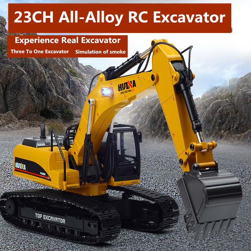 Professional Excavator Model 1:14 2.4G Full Alloy 23CH die-cast metal Off Road RC Hydraulic Excavator truck With Smoke Function