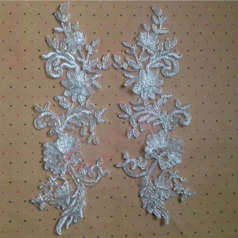 10Pieces Hot Sale Car Bone Beautiful Embroidery Flower Floral Alencon Lace Applique Trim For Bridal Pieces TT252
