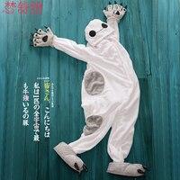 אוהבי בעלי החיים קריקטורה סתיו וחורף לבן גדול קורל פלנל טרקלין הלבשת חתיכה אחת ההורה
