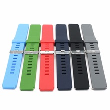 цена на 18 20 22mm 2016 New Man Lady Black Grey Blue Green Red Silicone Rubber Band with Silver Polished Pin Buckle Released Spring Bar