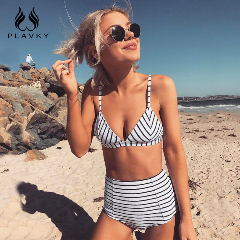 Bikinis Set Learned 2018 Sexy Retro White Black Striped Ripple Biquini Swim Bathing Suit High Waist Swimsuit Swimwear Women Push Up Bikini Swimming