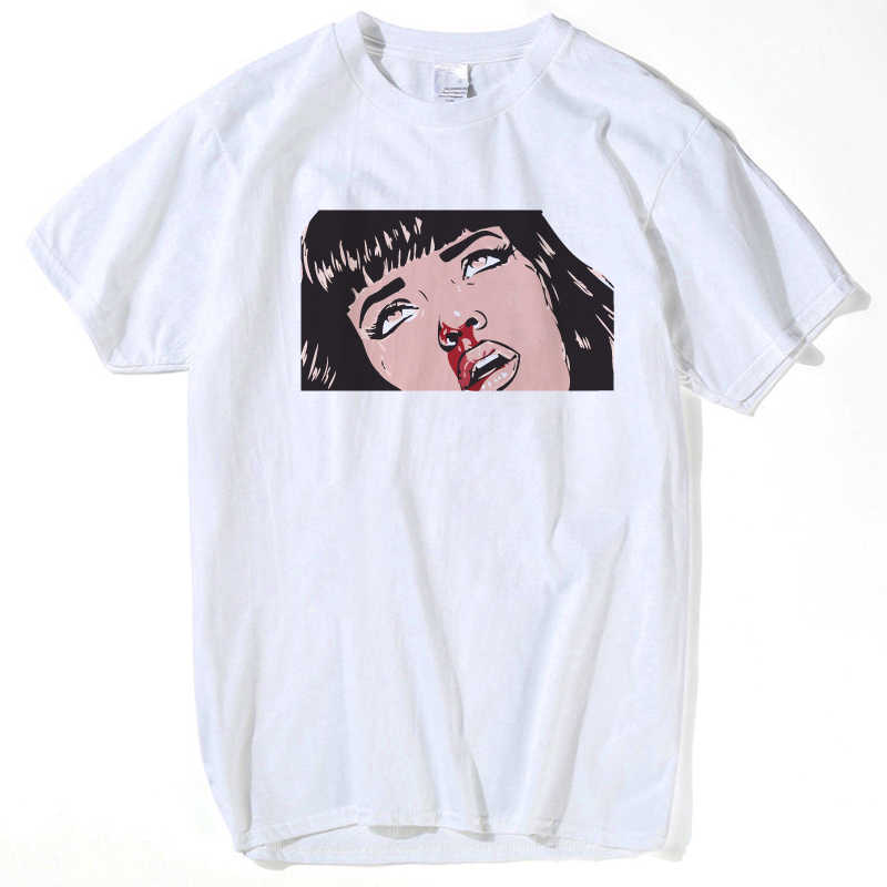 Movie Mia Wallace Pulp Fiction T-shirts Mannen Mode Zomer Quentin Tarantino T-shirt Hip Hop Meisje Gedrukt Top Tees streetwear xxxl
