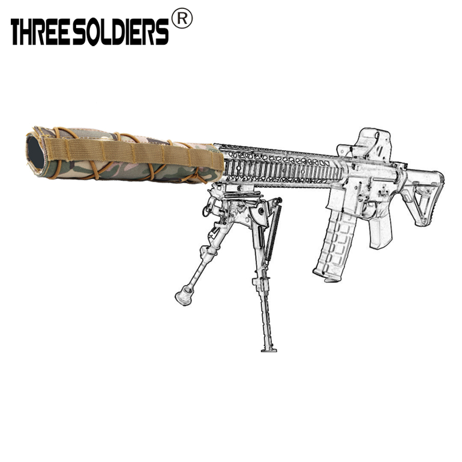 Three Soldiers nylon Suppressor Cover Airsoft Military Shooting Tactical Silencer Quick Release Cover Rod Protective Cover цена