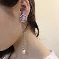 2019 Fashion Luxury 925 Sterling Silver Jewelry Luxury Fine Butterfly Long Dangle Earrings Natural Freshwater Pearls For Women