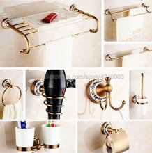Antique Brass Ceramic base Bathroom Accessories Set,Robe hook,Paper Holder,Towel Bar,Soap basket,Bathroom Hardware Set Kxz007 free shipping solid brass bathroom accessories set robe hook paper holder towel bar soap basket bathroom sets yt 12200 a