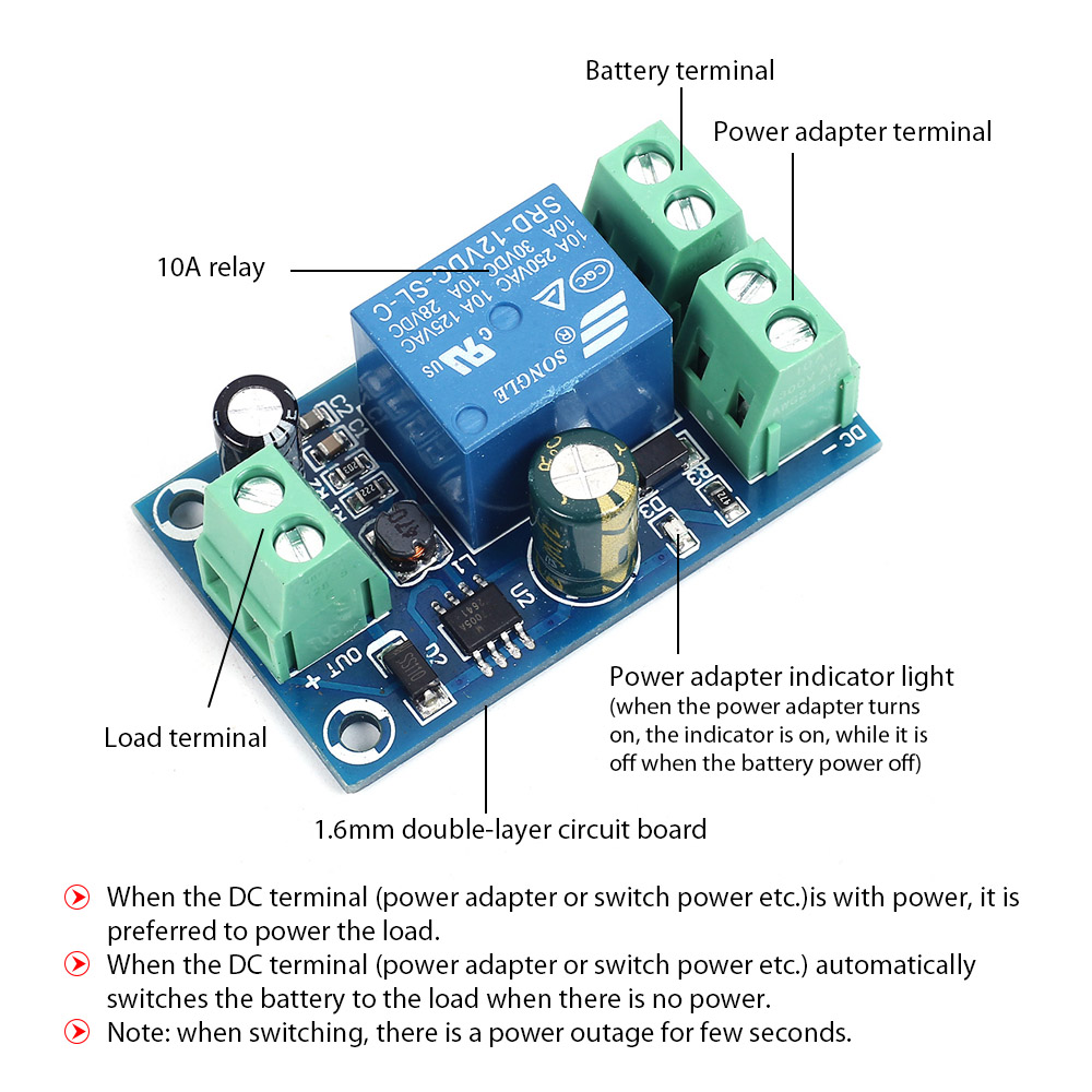 medium resolution of power off protection module automatic switching module ups emergency cut off battery power supply 12v to 48v control board in integrated circuits from