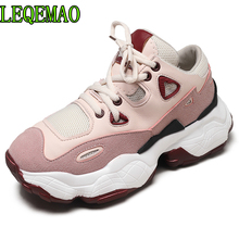 Size 35-40 2019 New Casual Women's Sneakers PU & Mesh Lace Up 6CM Platform Shoes Woman For Jeans Cool Girls Comfortable Footwear