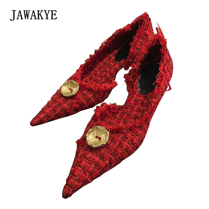 2018 Newest Linen Hemp Patchwork Tassel High Heel Shoes Women Sexy Pointed Toe Mixed Color Pumps Woman Fashion Wedding Shoes