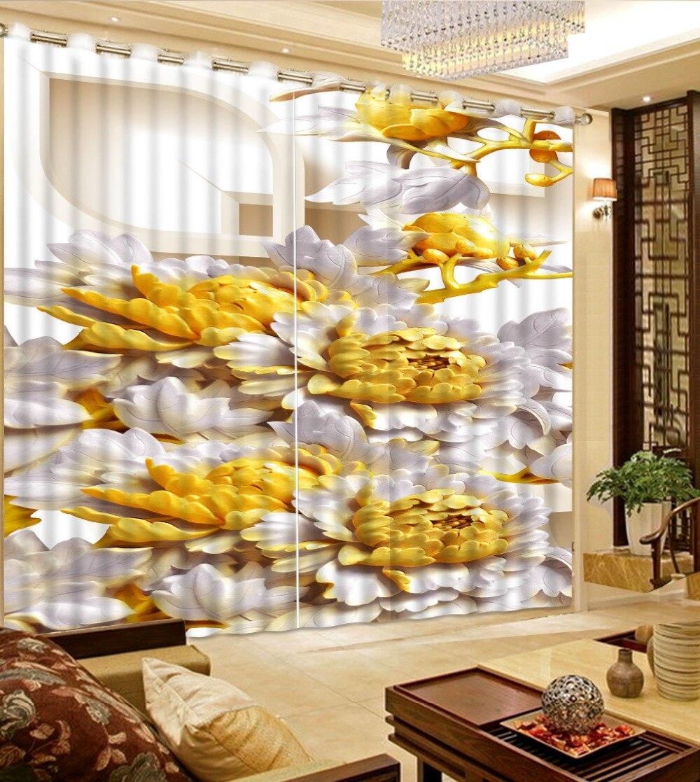 Rideaux de relief pivoine rideau fenêtre occultant luxe 3D rideaux ensemble pour lit salon bureau hôtel maison mur décoratif