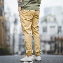 Maden Mens  khaki Casual Cotton Trousers  Size 28 TO 36 Improved Version Of Cropped Trousers With Elastic Feet Men Pants