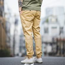 Maden calças de algodão casual caqui masculino tamanho 28 a 36 versão melhorada de calças cortadas com pés elásticos calças masculinas