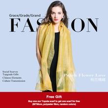 Hong Kong Yopata, шелково-шерстяной шарф, женские нежные шарфы с вышивкой, высокое качество, подарок