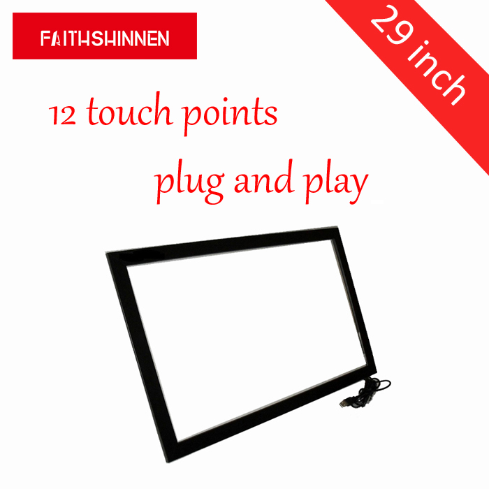 29 inch ir touch panel touch screen frame overlay kit 12 points touch aluminum-framed monitor touch screen 32 inch high definition 2 points multi touch screen panel ir multi touch screen overlay for touch table kiosk etc