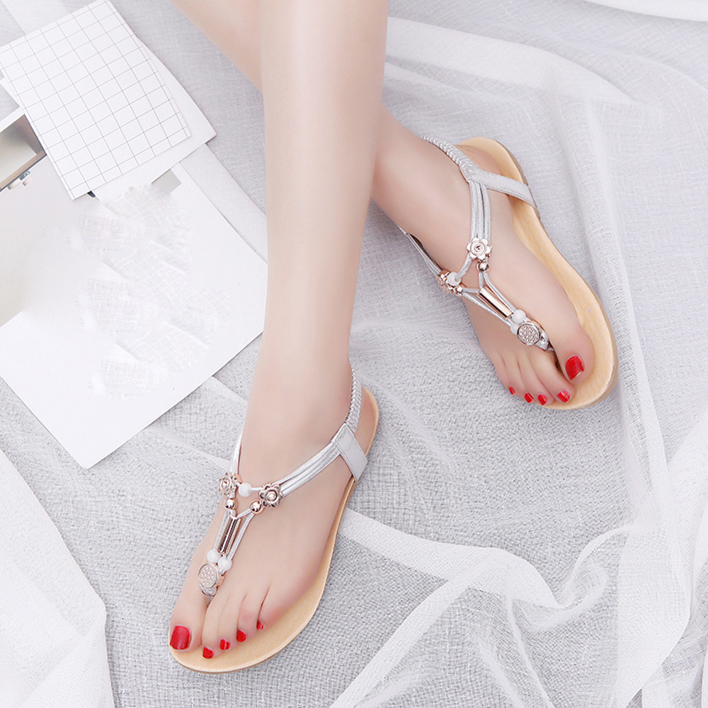 New Fashion Women Sandals Hot Sale 2017 Bohemia Ankle-Strap Flops Summer Flat Shoes High Quality Woman Gladiator Comfort Shoes aidocrystal woman ankle strap high heel sandals new arrival hot sale fashion office summer women casual women shoes