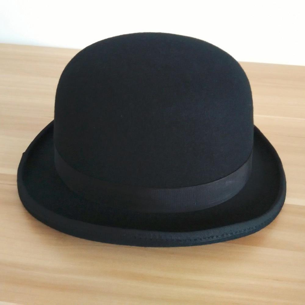 0202d4dc533fe Nueva negro Derby sombreros para hombres mujeres 2015 pura lana sentía  Derbi negro Bowler sombrero redondo corto de cuero de ala Sweatband forro  blanco en ...