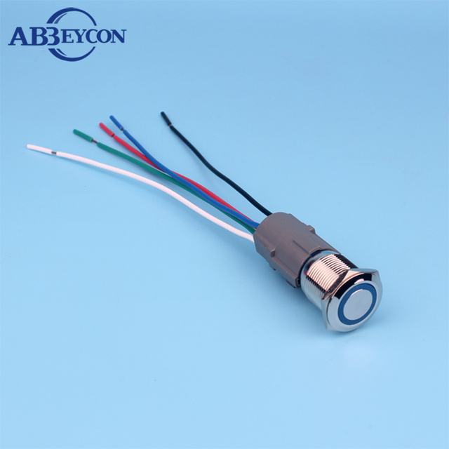 19mm ring LED light push button switch wiring harness momentary ON ...