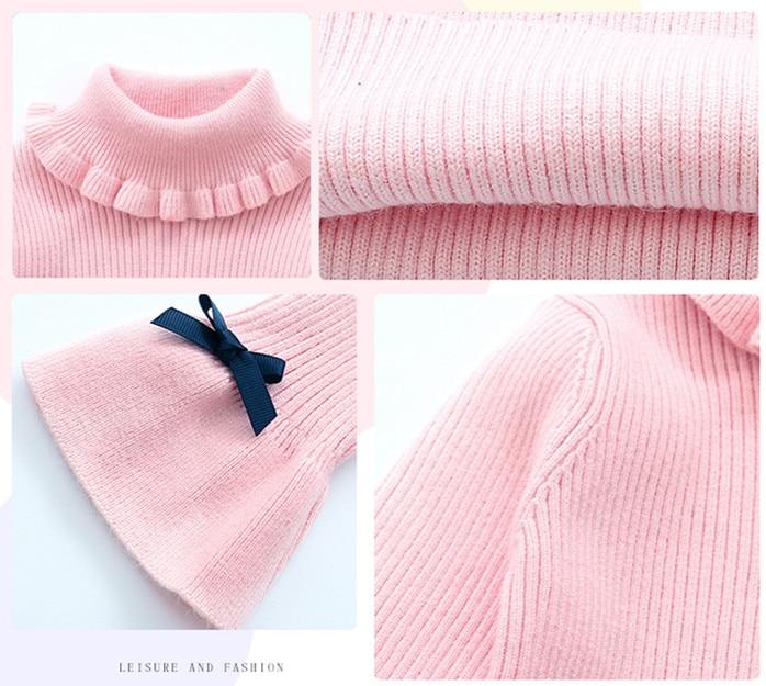 2d2c16a7b5145 US $16.58 21% OFF Little Girls Sweater Dresses Winter Knitting Dresses Kids  Girl Long Sweaters 2019 Fall Big Girls Long Sweater High Neck Dress-in ...