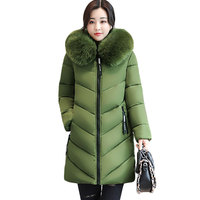 Winter Thicker Big Fur Collar Women Down Cotton Jacket 2017 New Ukraine 6XL Plus Size Hooded