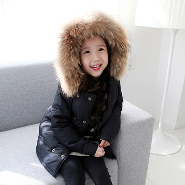 2016 Niños del invierno Slim down niñas chaqueta largas secciones gruesas Abajo chaqueta niños niñas pato abajo outwear la chaqueta
