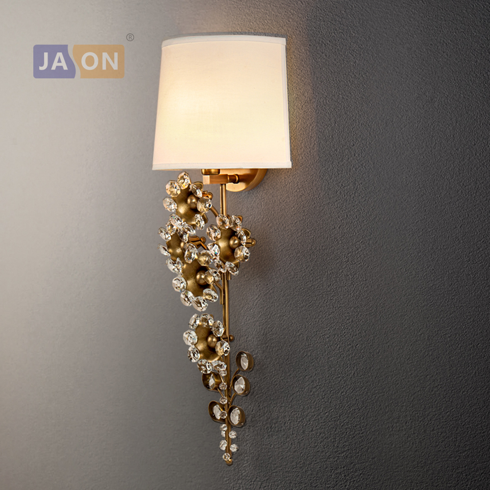 led e14 American Copper Crystal Flower Classic LED Lamp LED Light Wall lamp Wall Light Wall Sconce For Store Foyer Bedroom good quality crystal led wall light lustres diamond crystal wall sconces light led bedroom besides lamp used for ceiling or wall