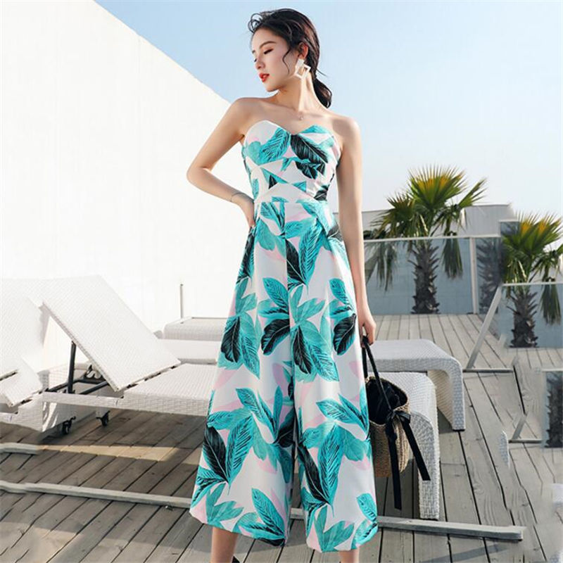 Sexy Strapless Backless Women Jumpsuits Female Casual Loose Holiday Jumpsuits Elegant High Waist Ladies Playsuits YY101
