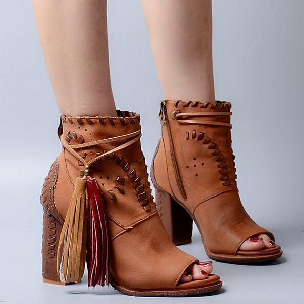 Fashion Camel Leather Women Peep Toe Ankle Boots Mixed Color Fringe Ladies Chunky Heel Boots High Quality Female Dress Boots camel camel boots cowhide thick heel rivet velvet fashion pointed toe boots vintage casual thermal boots