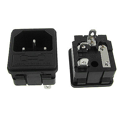 5 Pcs Clamp Type 3 Pins IEC 320 C14 Inlet Plug Sockets AC 250V 10A w Fuse Holder ac 250v 10a 3 terminals male iec 320 c14 inlet power plug w fuse holder