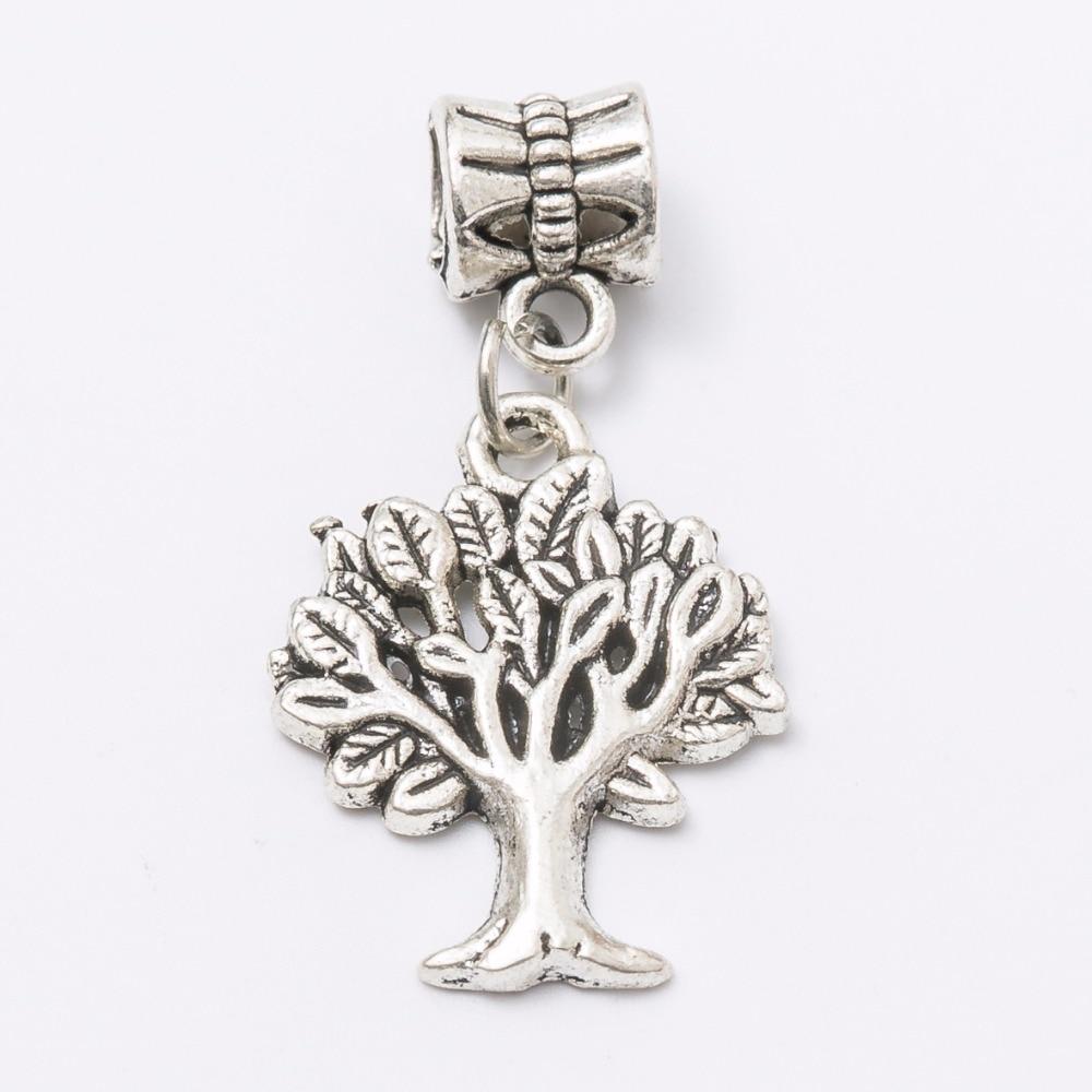 30pcs tree charm Tibetan silver Bead Charm big hole pendant fit Pandora charm bracelet DIY pendant JS1327