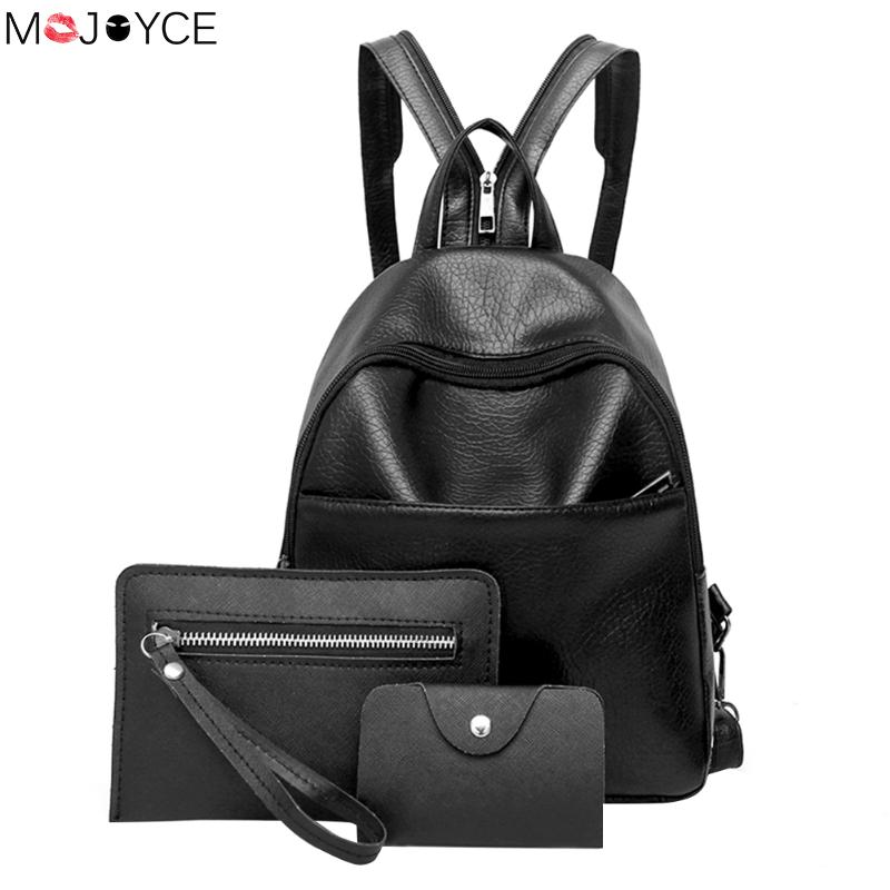 Small Soft Black Leather Backpack For Teenager Girls Famous Designer Schoolbag Purse Female Backpacks Mini Sac A Dos 3pcs/set