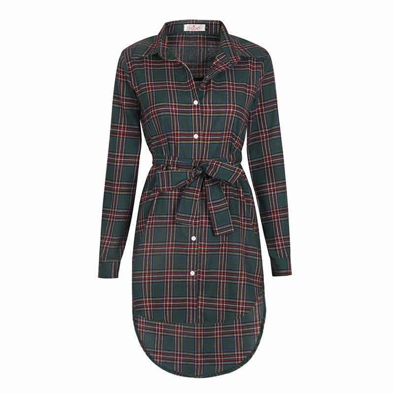 2017 dress kobiety nieregularne plaid shirt sukienki sexy długim rękawem turn down collar urząd casual dress lj5932c 5