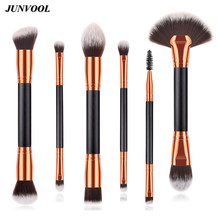 6PCS Large Foundation Makeup Brushes Double Head Eyelash Bevel Eyebrow Brush High-grade Accessories Face Beauty Cosmetic Tools