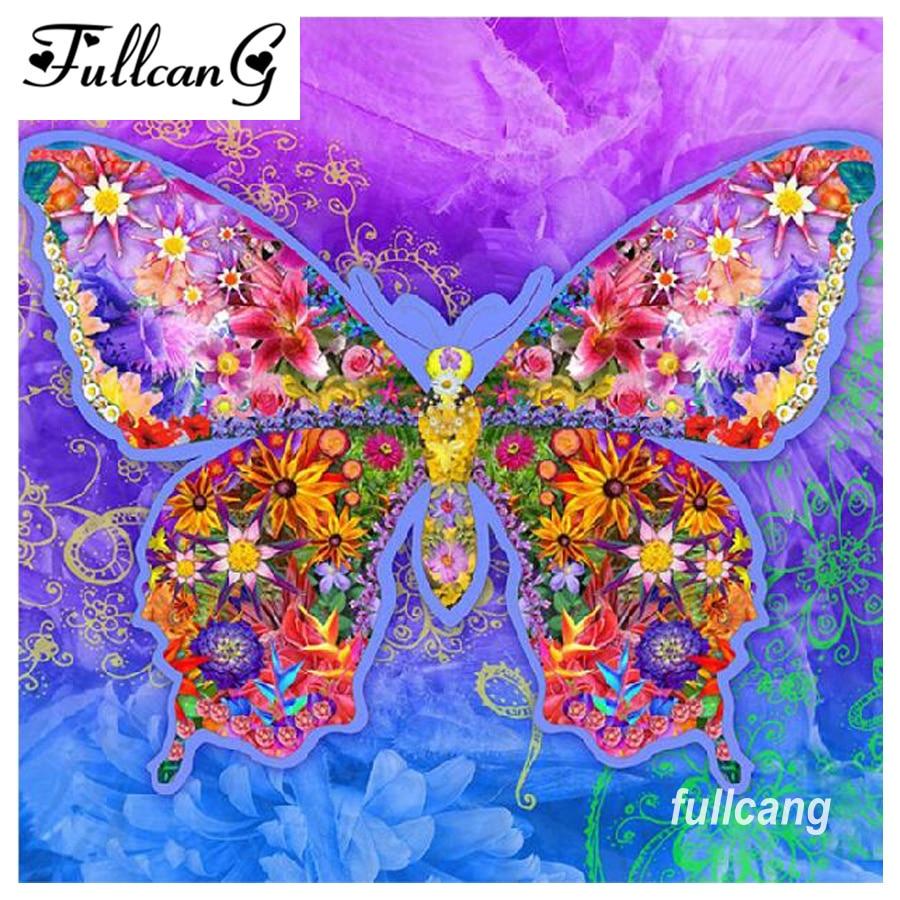FULLCANG Full Square Diamond Painting Cross Stitch Colorful Butterfly Diamond Embroidery 5D Diy Diamond Mosaic Needlework D241