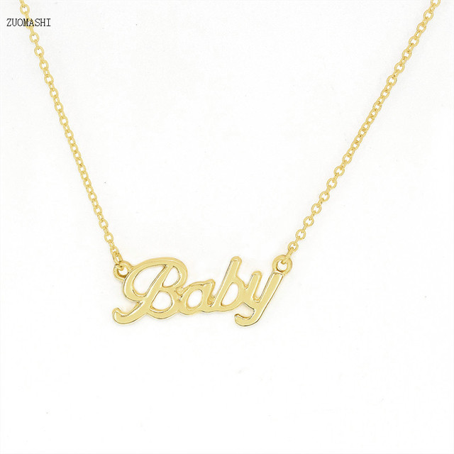 Us 1 52 20 Off Handmade Silver Gold Rose Gold Baby Necklace Personalized Necklaces For Children Gift Pendant Choker In Pendant Necklaces From