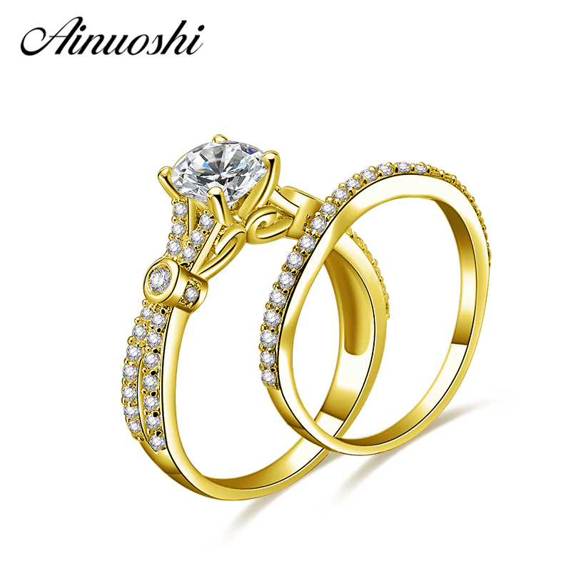 AINUOSHI 14K Solid Yellow Gold Ring Set Bow-knot Band 1ct Round Cut Exquisite Rings Luxurious Engagement Wedding Rings for WomanAINUOSHI 14K Solid Yellow Gold Ring Set Bow-knot Band 1ct Round Cut Exquisite Rings Luxurious Engagement Wedding Rings for Woman