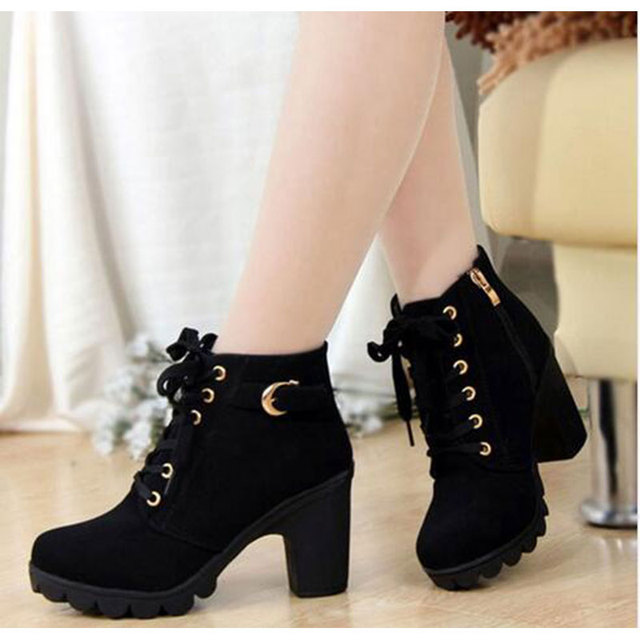 High Quality Lace up ladies shoes woman PU leather fashion high heels boots women 2020 new autumn winter women ankle Boots