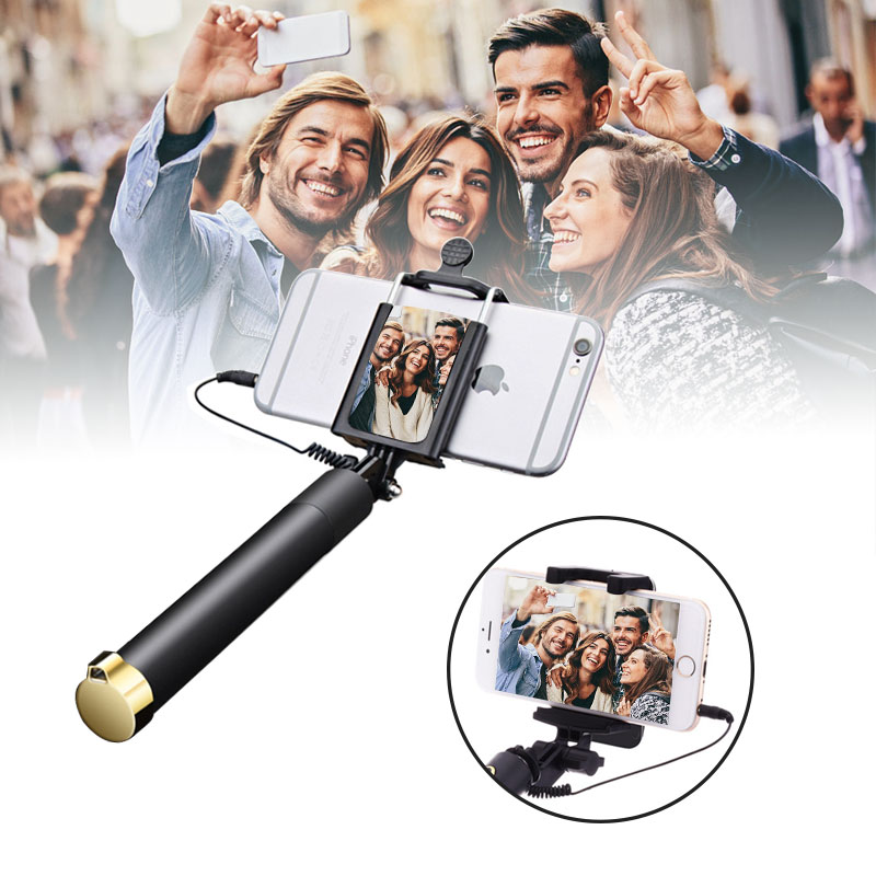 Mini Universal Selfie Stick With Mirror For iPhone 5s 6S Samsung S8 S7 Xiaomi mi6 Sony Wire Handheld Monopod Extendable Portable hotr mirror selfie stick monopod premium quality wired selfie stick extendable for iphone 6 plus 5 5s 4s for samsung s8 plus s7
