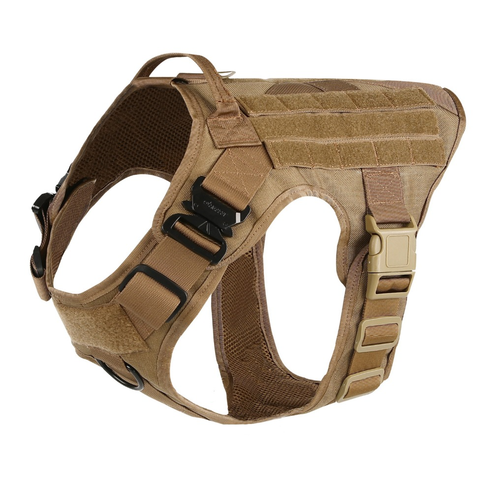 Military Tactical Dog Modular Harness with No Pull Front Clip law enforcement K9 Working Cannie Molle Hunting Vest handbag