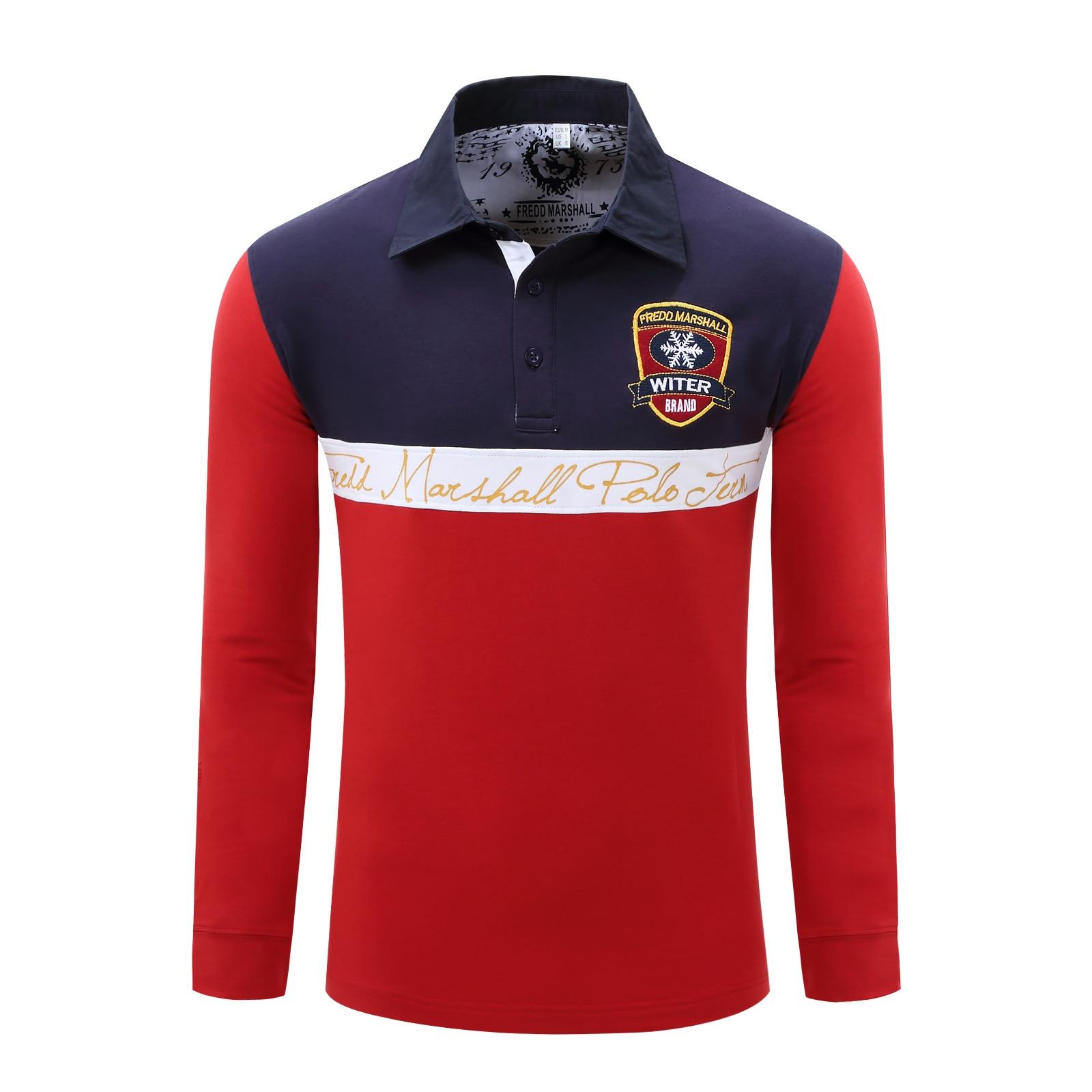 Polo Männer Polo Shirts Fredd Marshall Langarm Feste Beiläufige Polo Shirts Camisa Polos Rot Blau Grau Grün Fashion 053 Bequem Und Einfach Zu Tragen Oberteile Und T-shirts