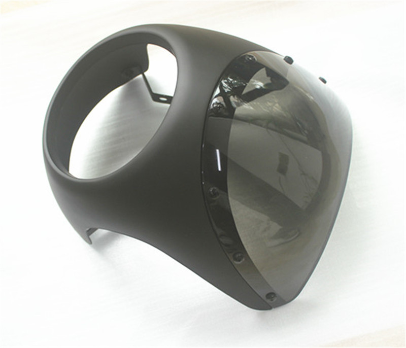 Cafe racer fairing Retro motorcycle matte black headlight fairing mirrors hood Vintage UNIVERSAL fit 7 Headlight