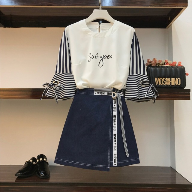 Amolapha Women Casual Letters Tops Skirts Sets Striped Half Sleeve Tshirts Skirt Suits for Woman