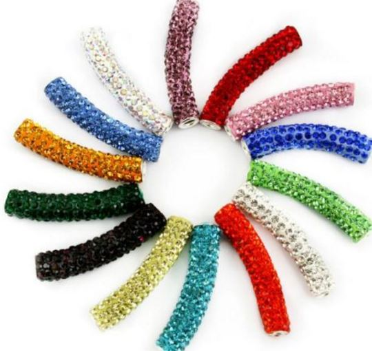 10pcs/lot 1cm * 5cm Mix Micro Pave White Disco Ball Crystal Crystal  V424 Beads Long Bending Tube For Bracelet
