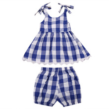 Toddler Kids Baby Girls Clothes Set Blue Plaid Sleeveless Dress Tops Shorts Children Clothing Summer Girl Costume Outfits 2pcs