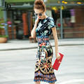 New 2016 Designer Runway Summer style Sheath Dress High Quality Women's Short sleeve Vintage Print Slim Sexy Knee Length Dress