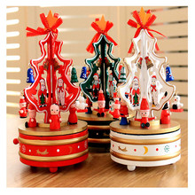 Christmas decorations for home wooden rotating christmas tree music box gift desktop ornament